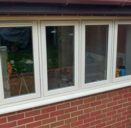 Flush sash windows in cream: Click Here To View Larger Image